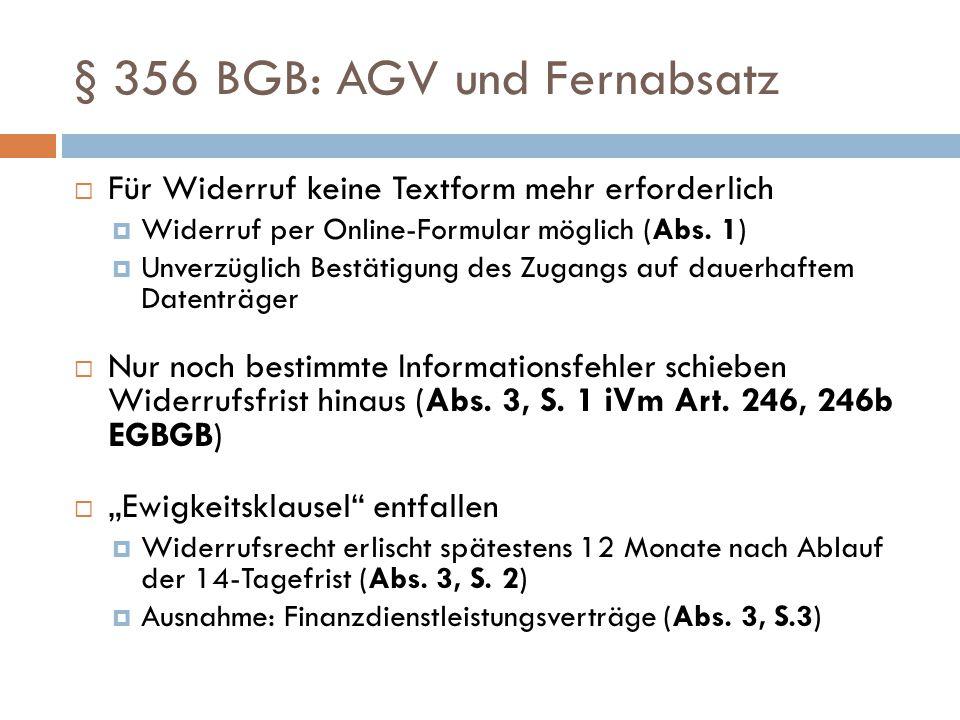 § 356 BGB: AGV und Fernabsatz