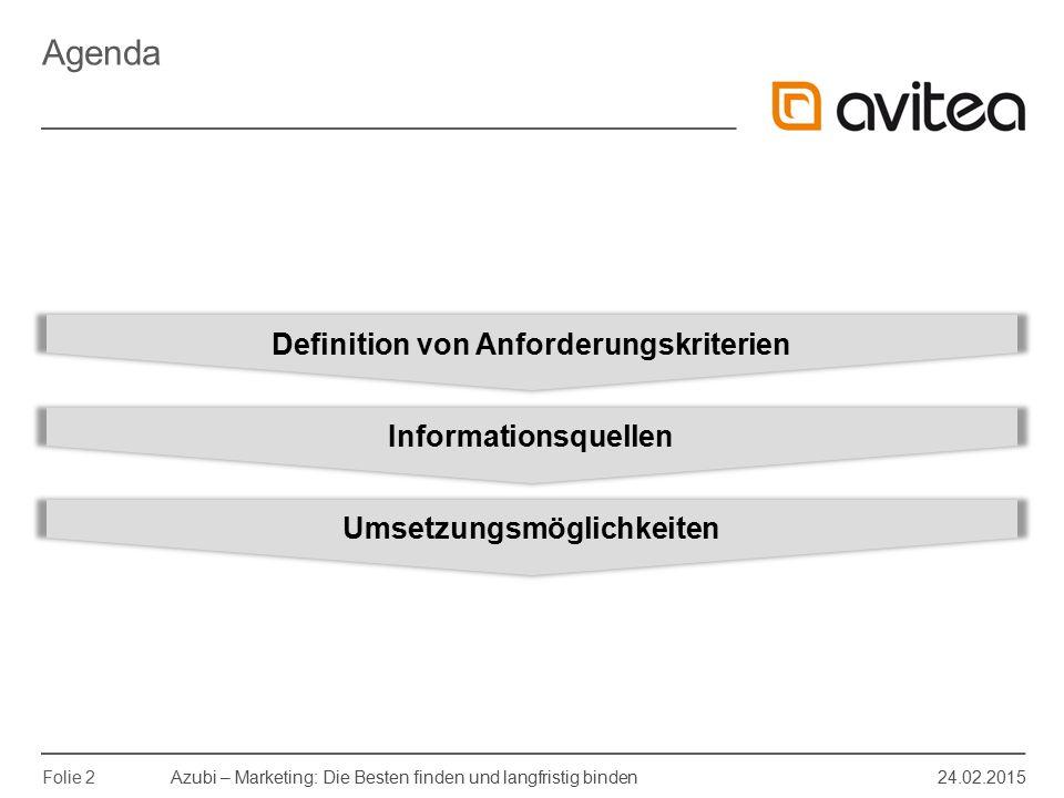 Definition von Anforderungskriterien Umsetzungsmöglichkeiten