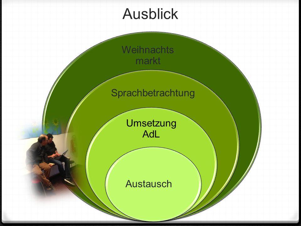 Ausblick Weihnachtsmarkt Sprachbetrachtung Umsetzung AdL Austausch