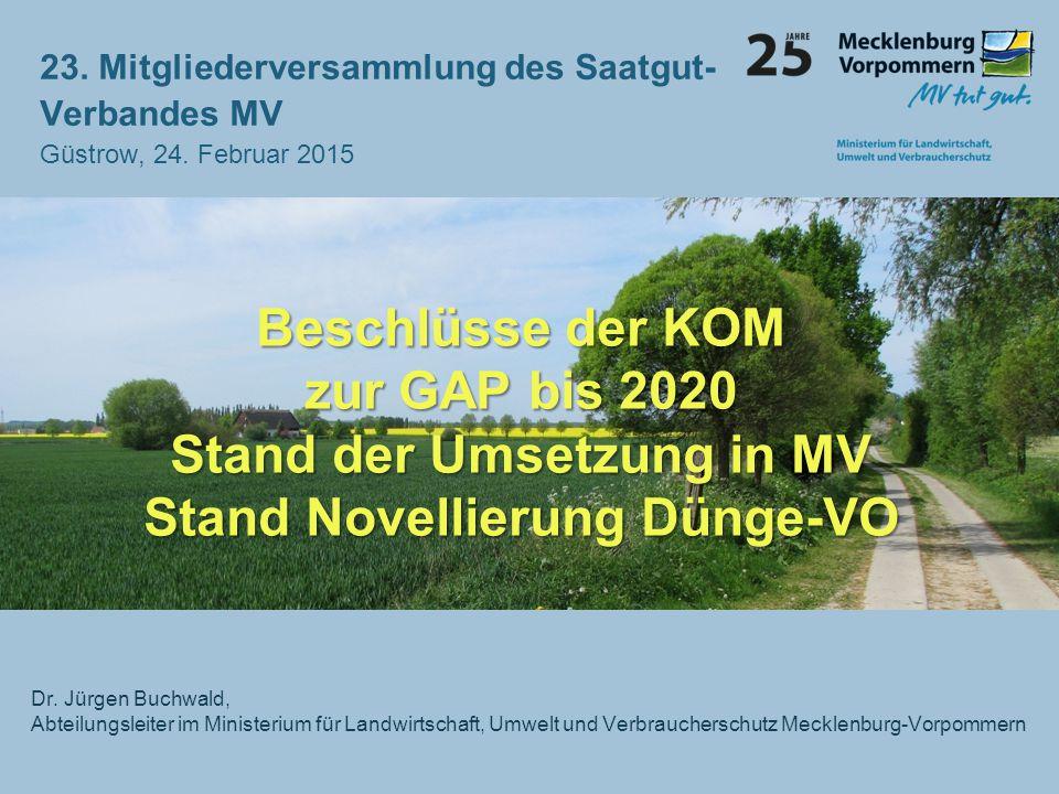 Stand der Umsetzung in MV Stand Novellierung Dünge-VO