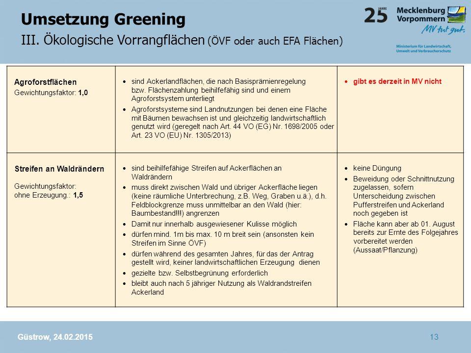 Umsetzung Greening III. Ökologische Vorrangflächen (ÖVF oder auch EFA Flächen) Agroforstflächen. Gewichtungsfaktor: 1,0.
