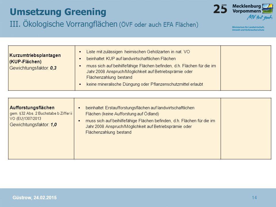 Umsetzung Greening III. Ökologische Vorrangflächen (ÖVF oder auch EFA Flächen) Kurzumtriebsplantagen (KUP-Flächen)