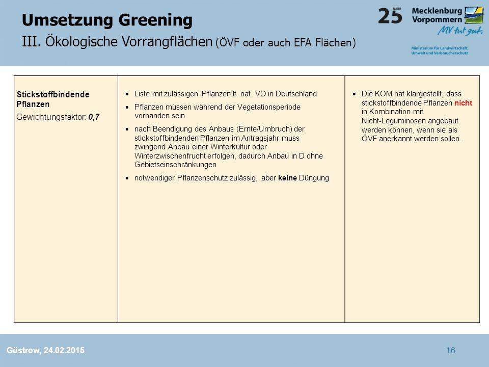 Umsetzung Greening III. Ökologische Vorrangflächen (ÖVF oder auch EFA Flächen) Stickstoffbindende Pflanzen.