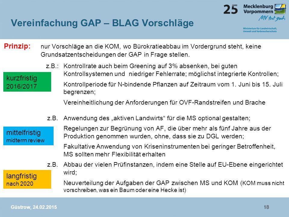 Vereinfachung GAP – BLAG Vorschläge