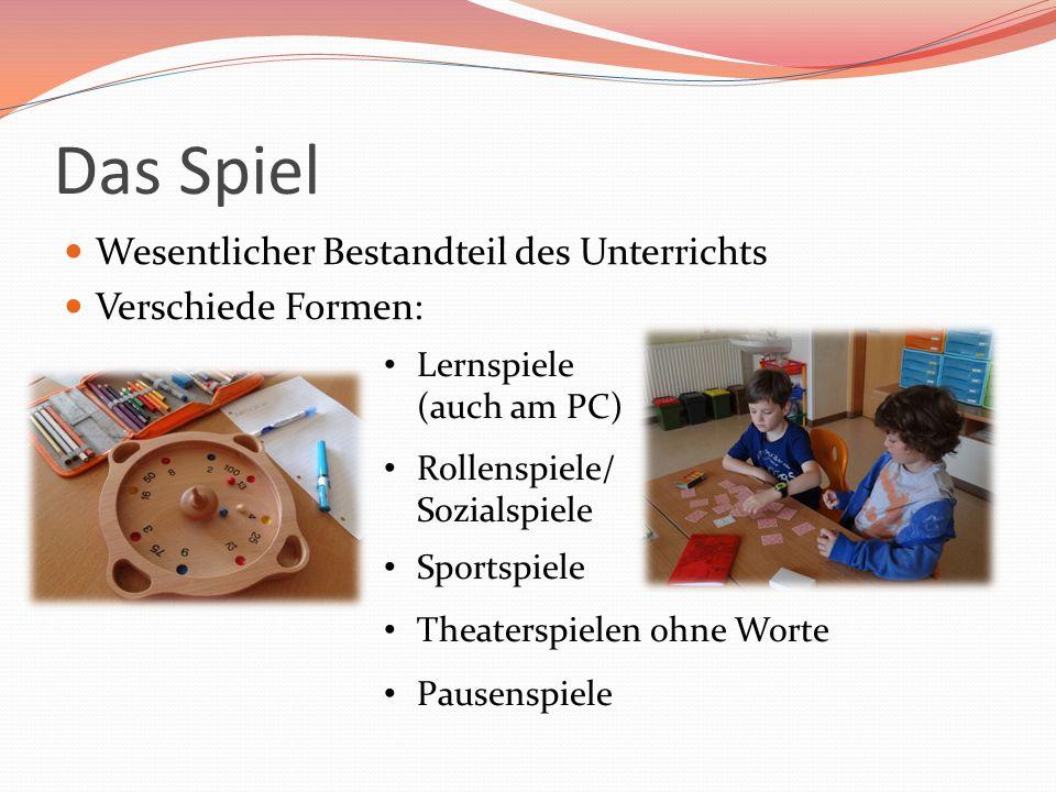 Das Spiel Wesentlicher Bestandteil des Unterrichts Verschiede Formen: