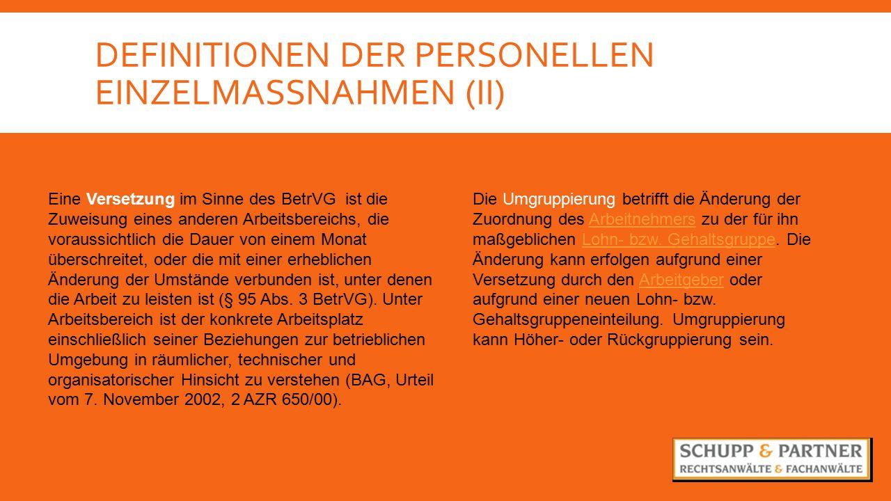 Definitionen der personellen Einzelmassnahmen (II)