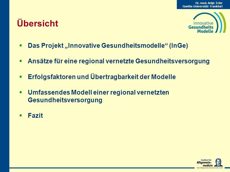 """Übersicht Das Projekt """"Innovative Gesundheitsmodelle (InGe)"""