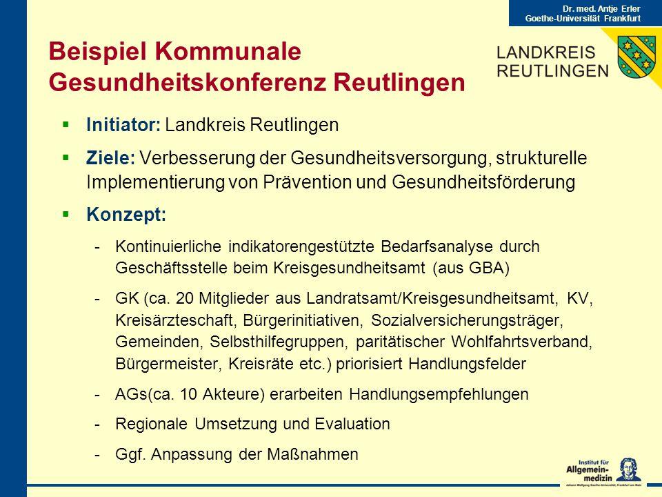 Beispiel Kommunale Gesundheitskonferenz Reutlingen