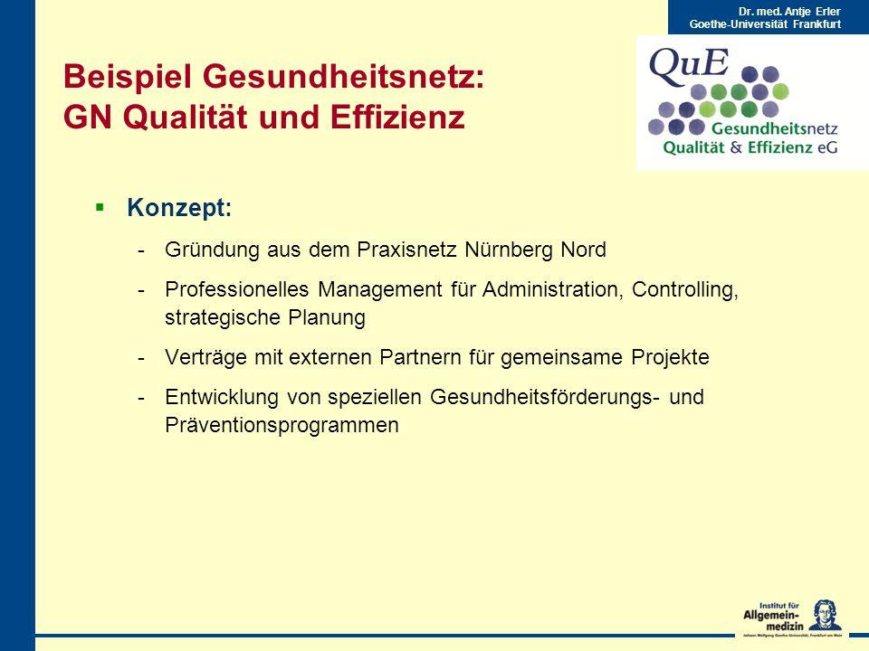 Beispiel Gesundheitsnetz: GN Qualität und Effizienz