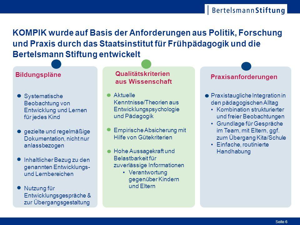 KOMPIK wurde auf Basis der Anforderungen aus Politik, Forschung und Praxis durch das Staatsinstitut für Frühpädagogik und die Bertelsmann Stiftung entwickelt