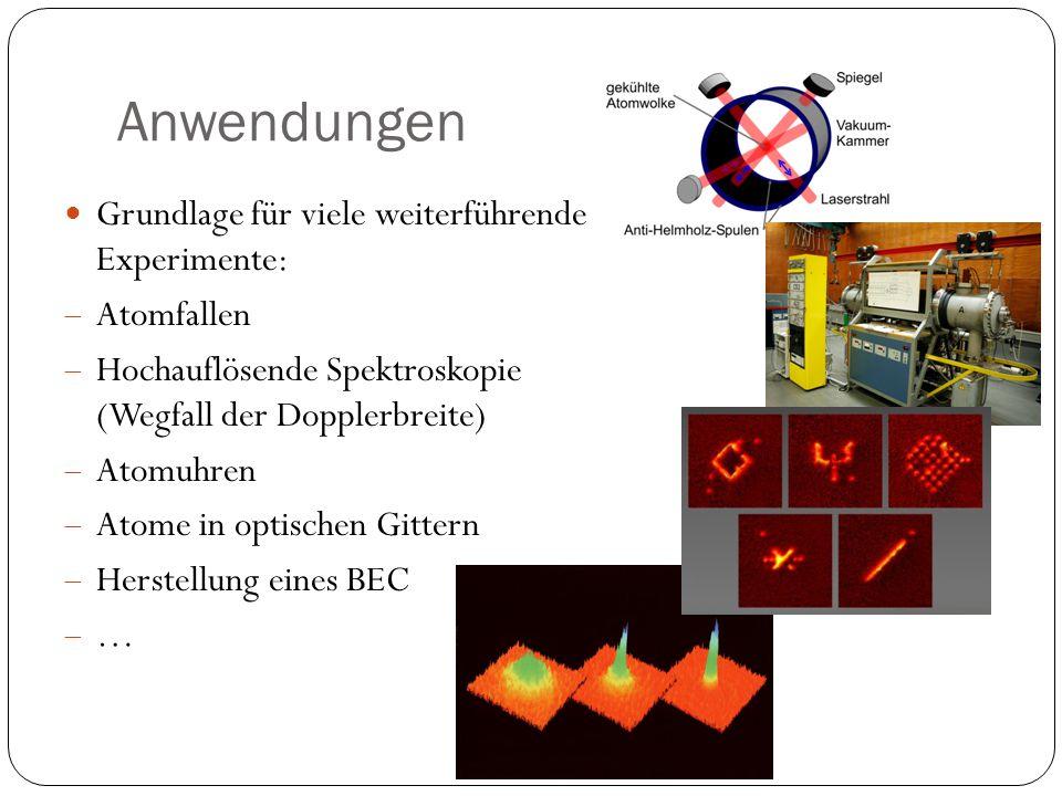 Anwendungen Grundlage für viele weiterführende Experimente: Atomfallen