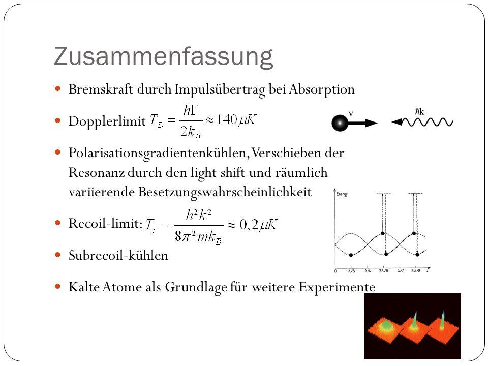 Zusammenfassung Bremskraft durch Impulsübertrag bei Absorption