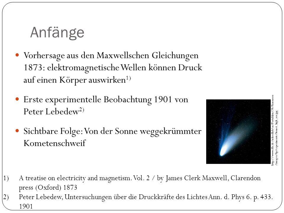 Anfänge Vorhersage aus den Maxwellschen Gleichungen 1873: elektromagnetische Wellen können Druck auf einen Körper auswirken1)