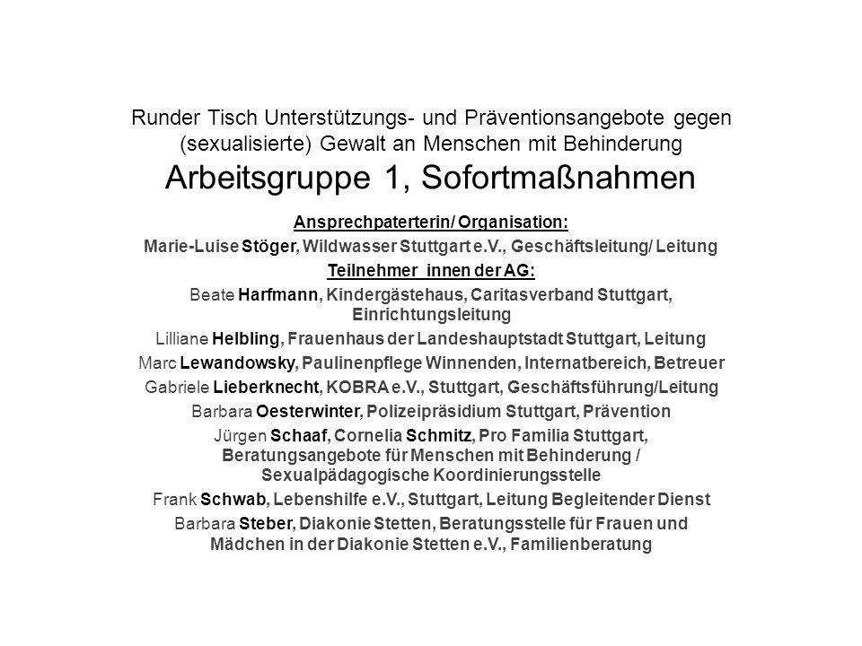 Ansprechpaterterin/ Organisation: Teilnehmer_innen der AG: