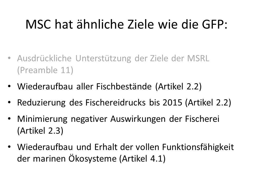 MSC hat ähnliche Ziele wie die GFP: