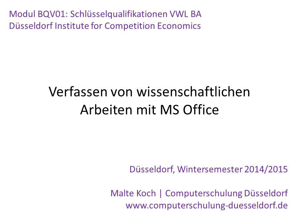 Verfassen von wissenschaftlichen Arbeiten mit MS Office