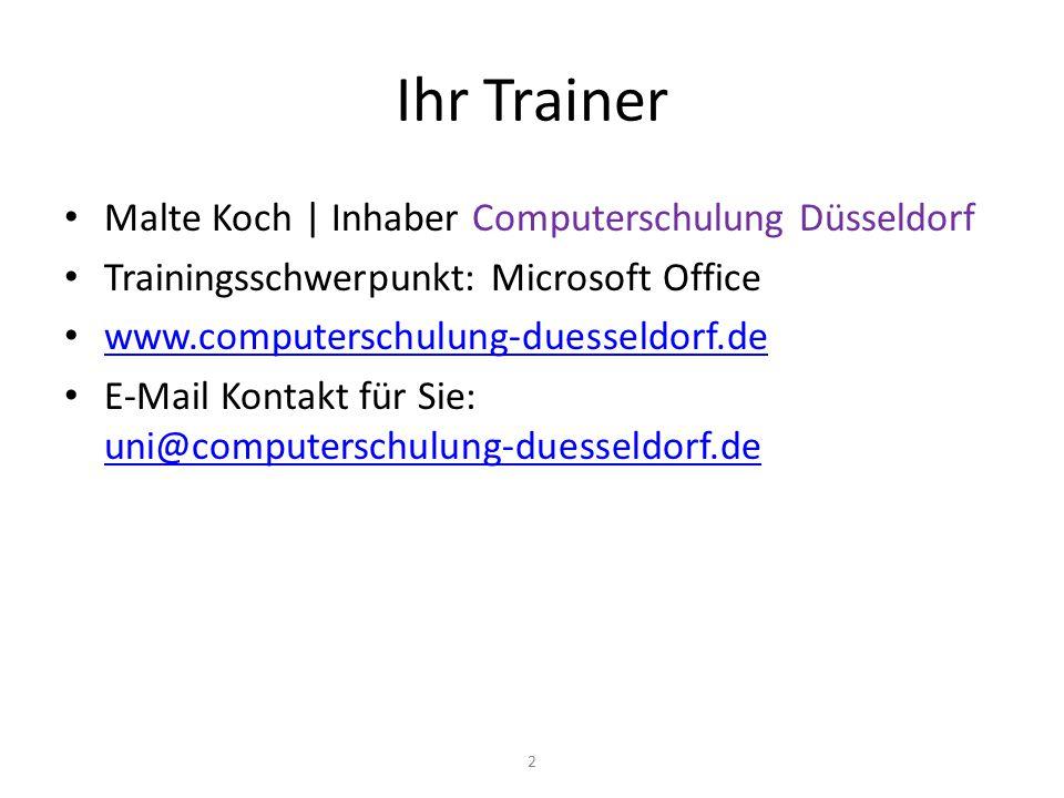 Ihr Trainer Malte Koch | Inhaber Computerschulung Düsseldorf