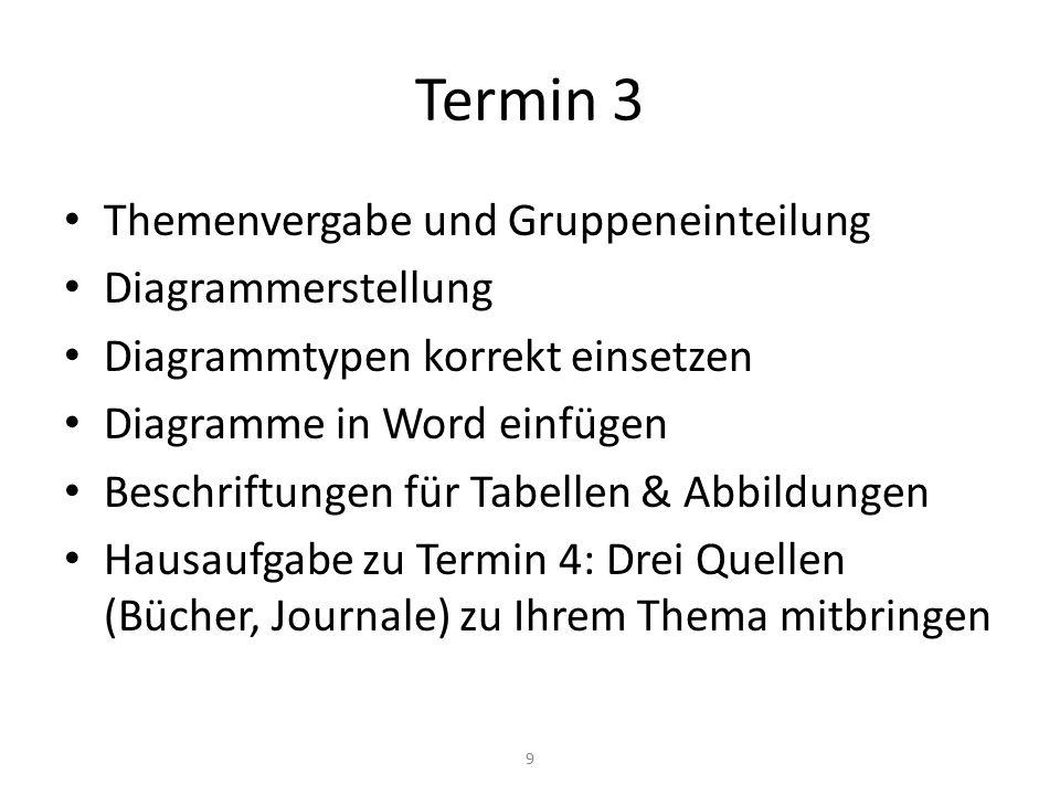 Termin 3 Themenvergabe und Gruppeneinteilung Diagrammerstellung