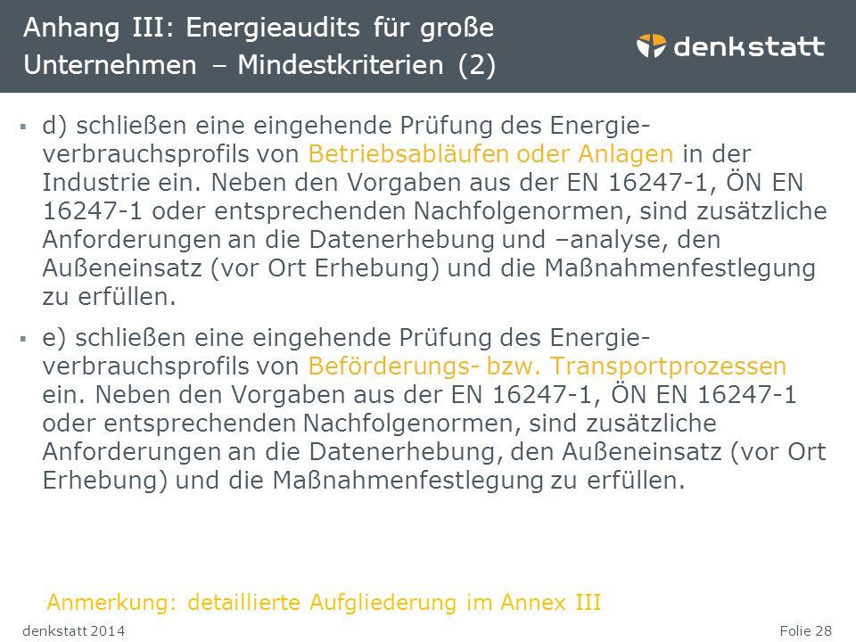 Anhang III: Energieaudits für große Unternehmen – Mindestkriterien (2)