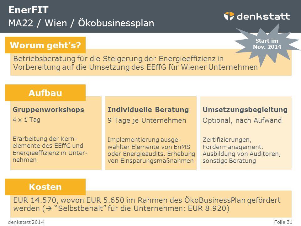 EnerFIT MA22 / Wien / Ökobusinessplan