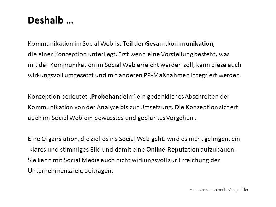 Deshalb … Kommunikation im Social Web ist Teil der Gesamtkommunikation, die einer Konzeption unterliegt. Erst wenn eine Vorstellung besteht, was.