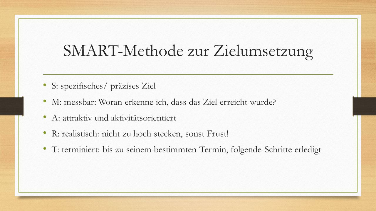 SMART-Methode zur Zielumsetzung