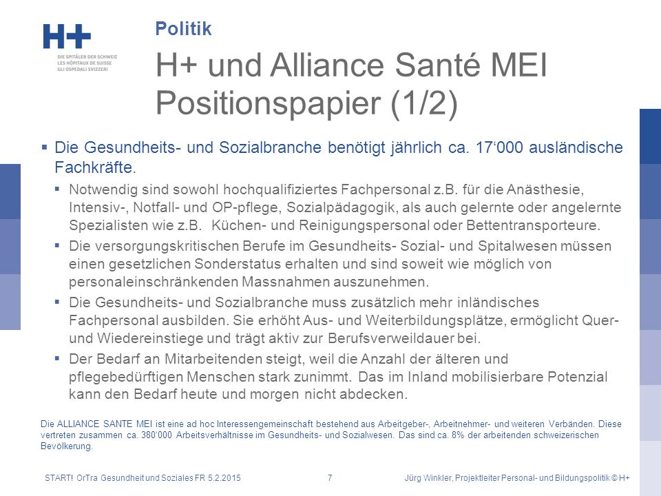H+ und Alliance Santé MEI Positionspapier (1/2)