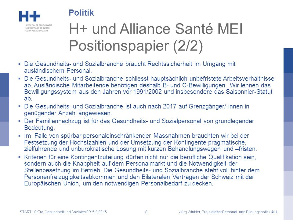H+ und Alliance Santé MEI Positionspapier (2/2)