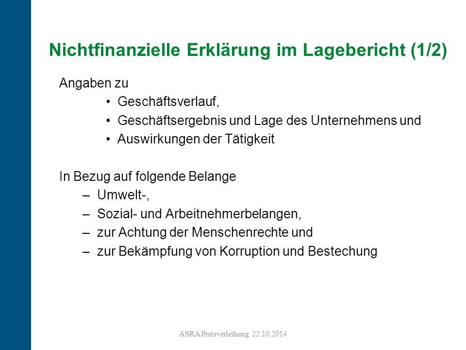 Nichtfinanzielle Erklärung im Lagebericht (1/2)