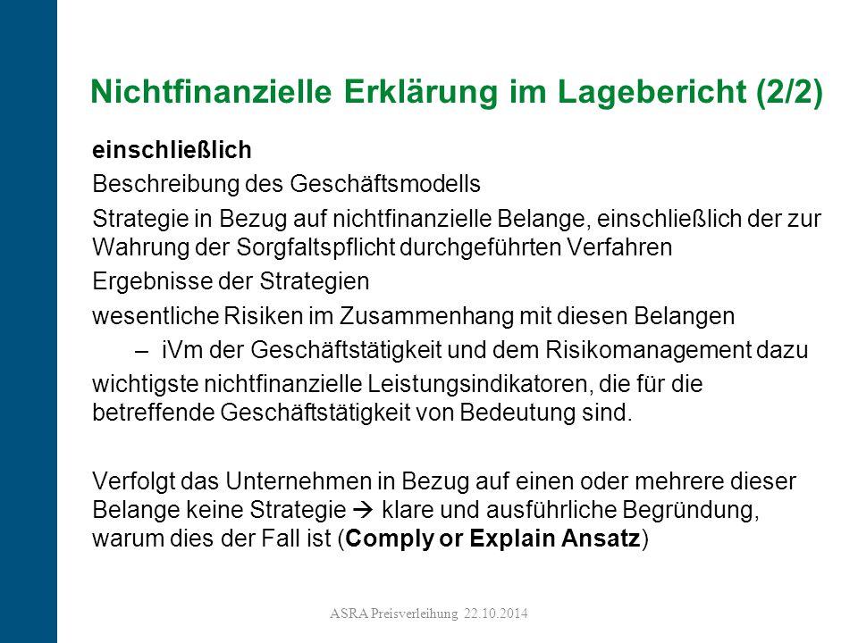Nichtfinanzielle Erklärung im Lagebericht (2/2)