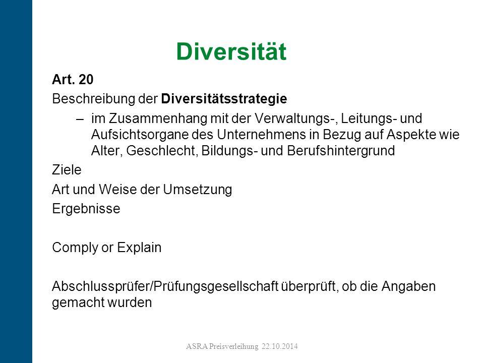 Diversität Art. 20 Beschreibung der Diversitätsstrategie