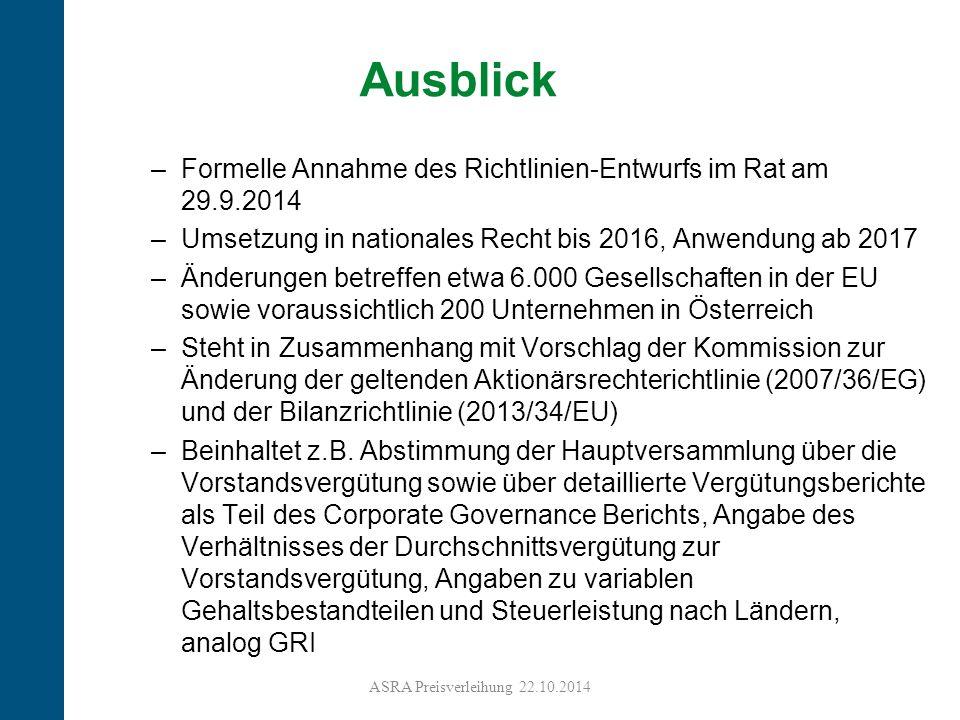 Ausblick Formelle Annahme des Richtlinien-Entwurfs im Rat am 29.9.2014