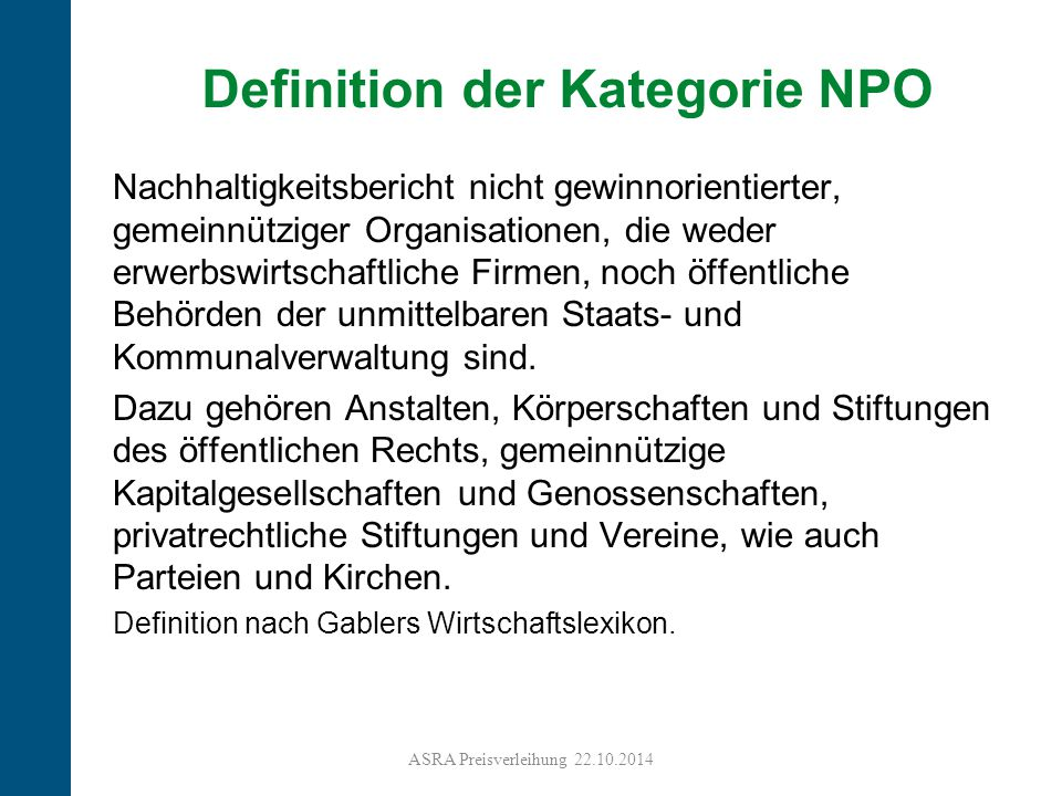 Definition der Kategorie NPO