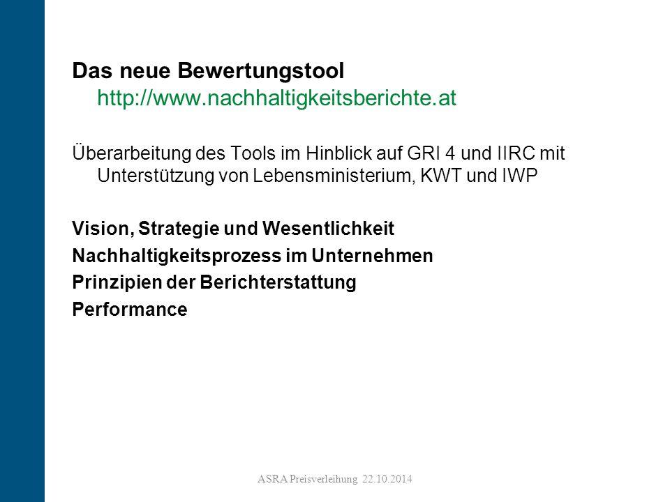 Das neue Bewertungstool http://www.nachhaltigkeitsberichte.at