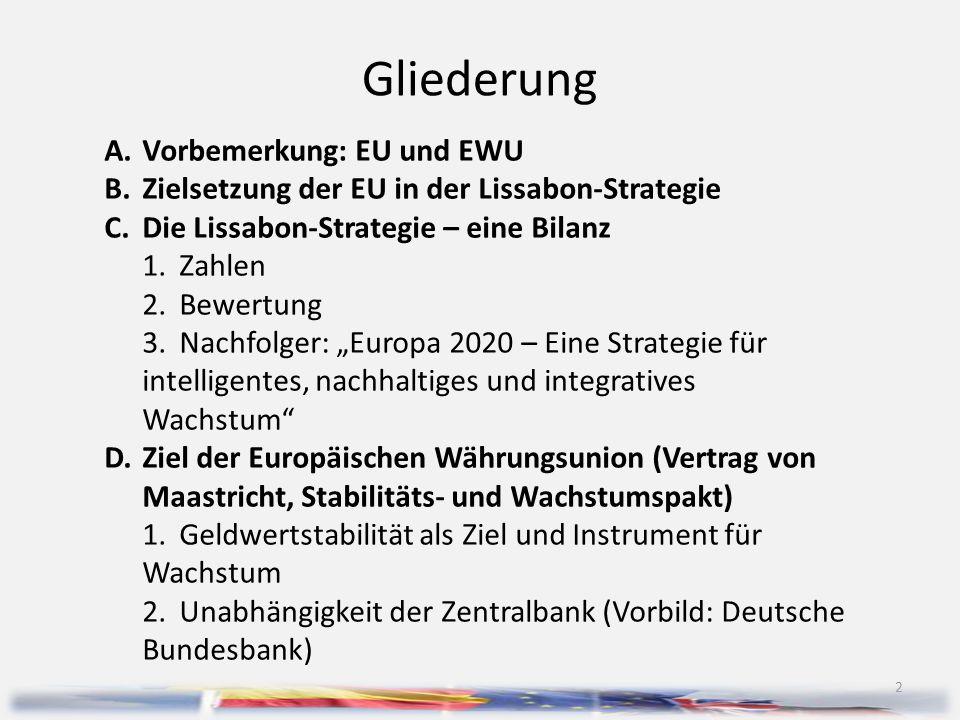 Gliederung A. Vorbemerkung: EU und EWU
