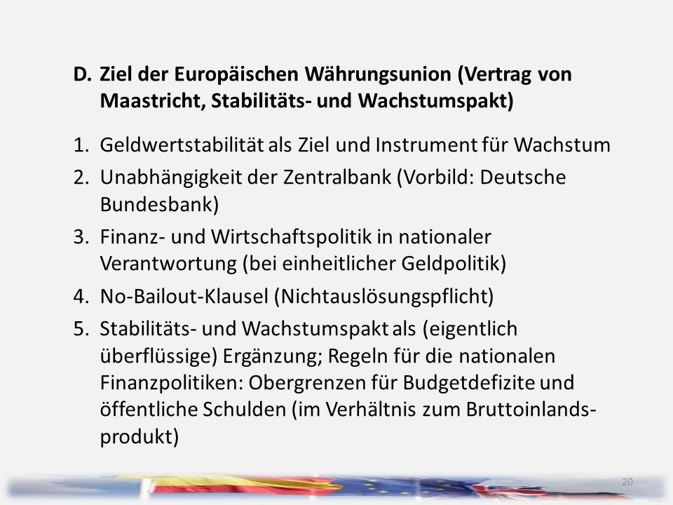 D. Ziel der Europäischen Währungsunion (Vertrag von
