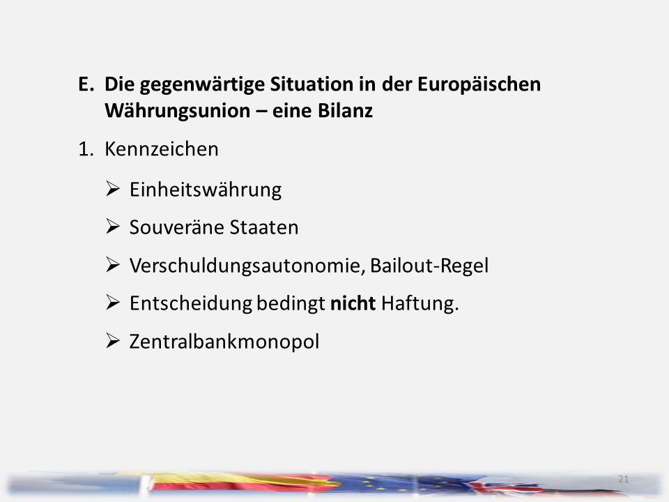 E. Die gegenwärtige Situation in der Europäischen