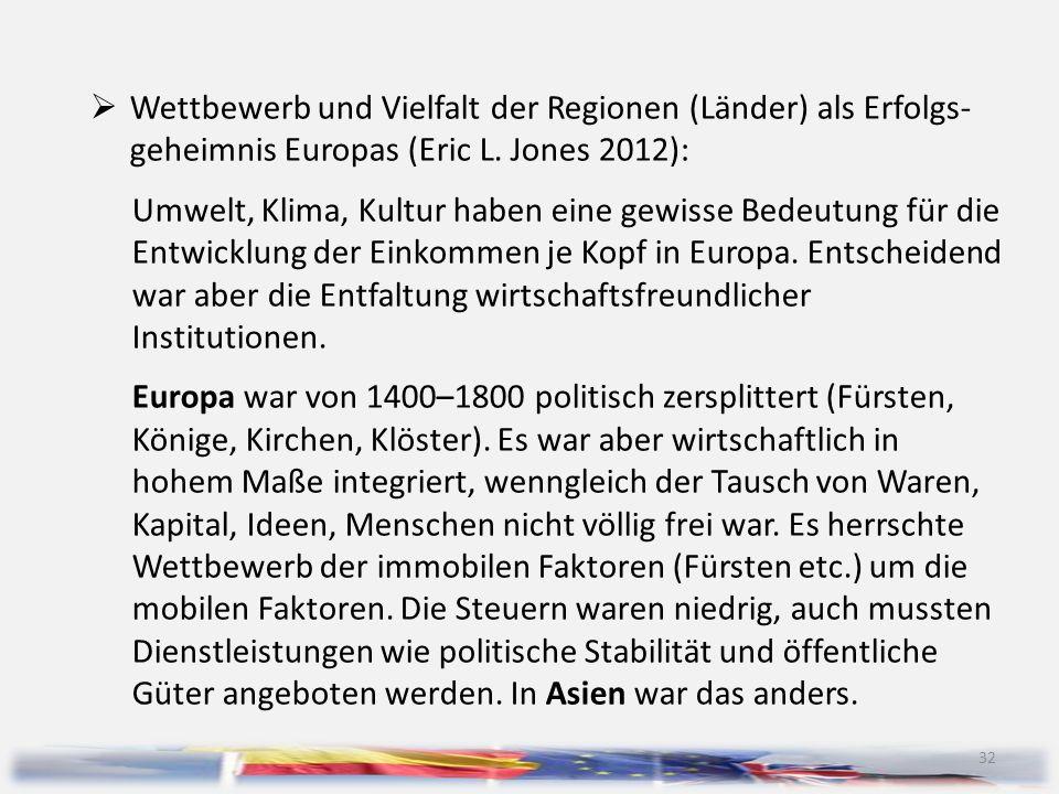 Wettbewerb und Vielfalt der Regionen (Länder) als Erfolgs- geheimnis Europas (Eric L. Jones 2012):