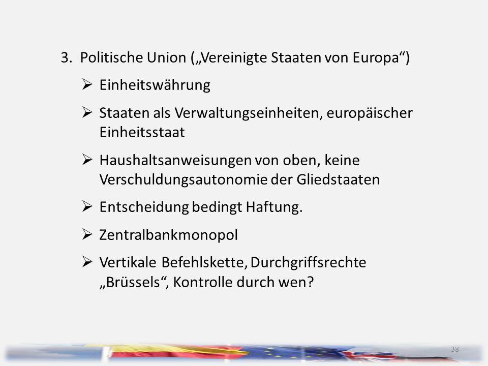 """3. Politische Union (""""Vereinigte Staaten von Europa )"""