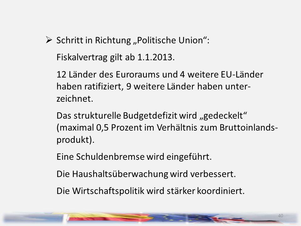 """Schritt in Richtung """"Politische Union :"""
