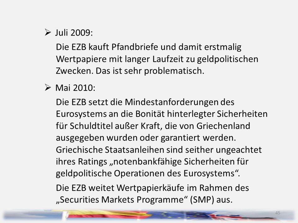 Juli 2009: Die EZB kauft Pfandbriefe und damit erstmalig Wertpapiere mit langer Laufzeit zu geldpolitischen Zwecken. Das ist sehr problematisch.