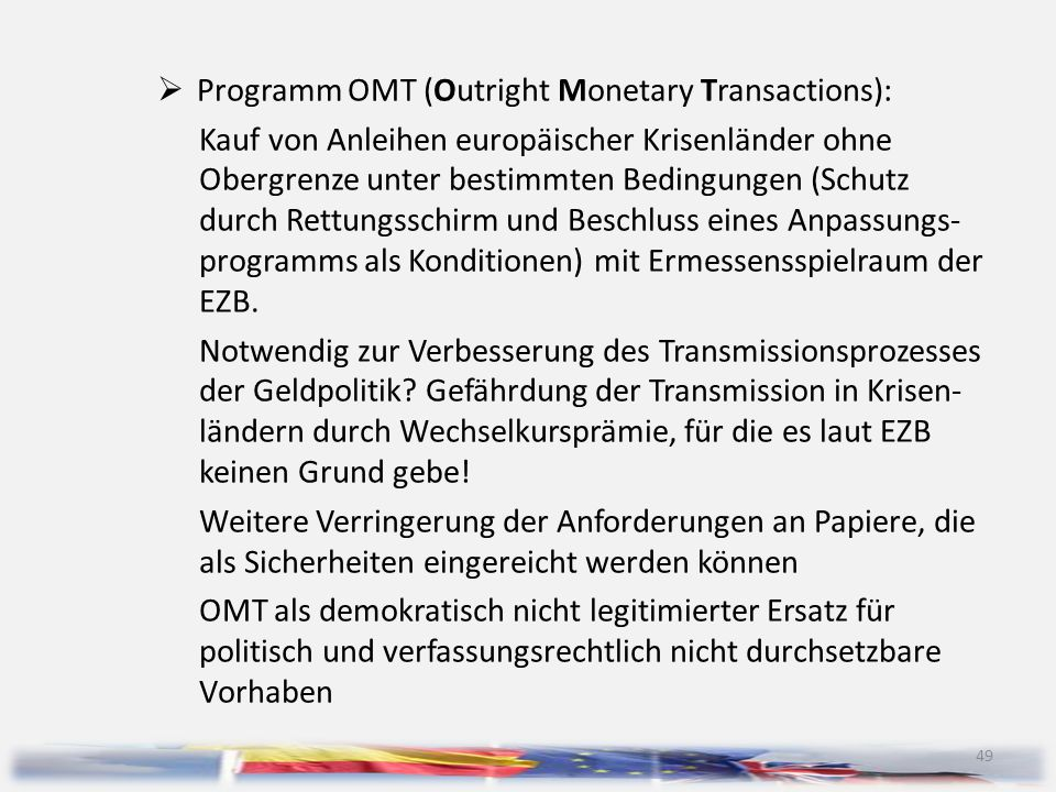 Programm OMT (Outright Monetary Transactions):