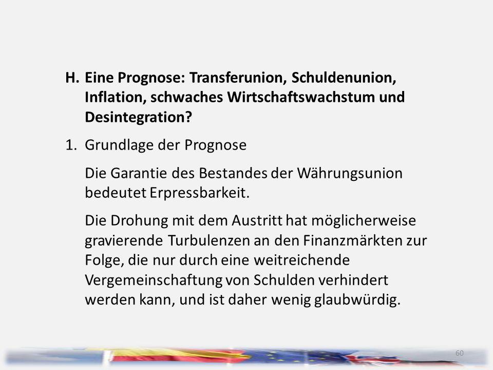 H. Eine Prognose: Transferunion, Schuldenunion,