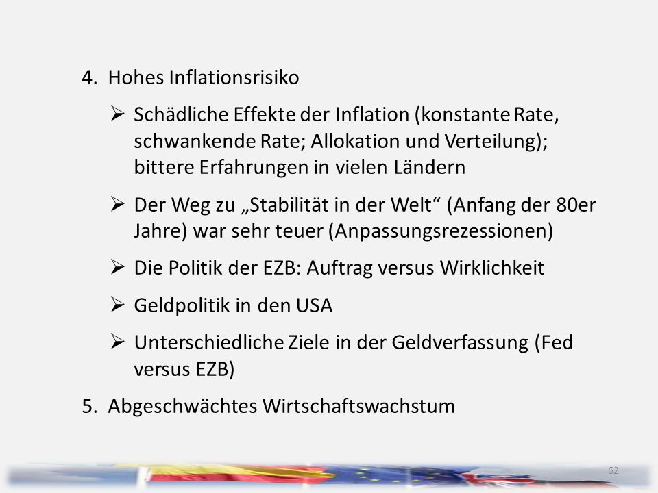 4. Hohes Inflationsrisiko