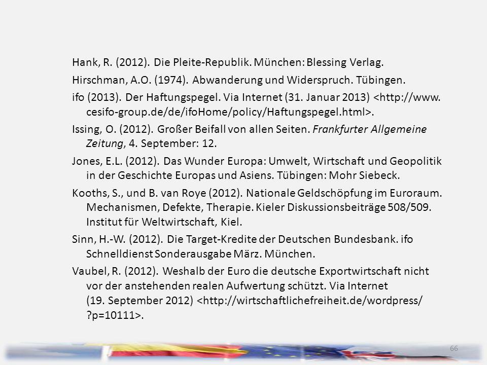 Hank, R. (2012). Die Pleite-Republik. München: Blessing Verlag.