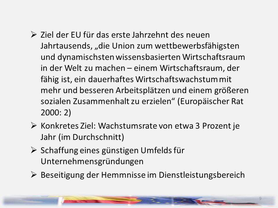 """Ziel der EU für das erste Jahrzehnt des neuen Jahrtausends, """"die Union zum wettbewerbsfähigsten und dynamischsten wissensbasierten Wirtschaftsraum in der Welt zu machen – einem Wirtschaftsraum, der fähig ist, ein dauerhaftes Wirtschaftswachstum mit mehr und besseren Arbeitsplätzen und einem größeren sozialen Zusammenhalt zu erzielen (Europäischer Rat 2000: 2)"""