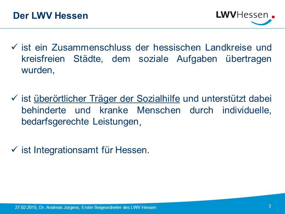 Der LWV Hessen ist ein Zusammenschluss der hessischen Landkreise und kreisfreien Städte, dem soziale Aufgaben übertragen wurden,