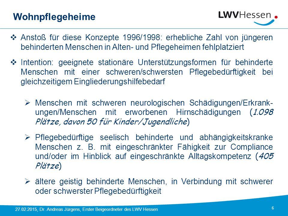 Wohnpflegeheime Anstoß für diese Konzepte 1996/1998: erhebliche Zahl von jüngeren behinderten Menschen in Alten- und Pflegeheimen fehlplatziert.
