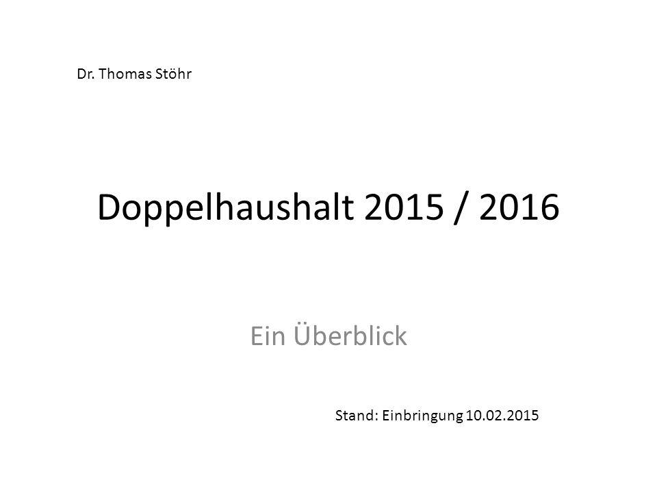 Doppelhaushalt 2015 / 2016 Ein Überblick Dr. Thomas Stöhr
