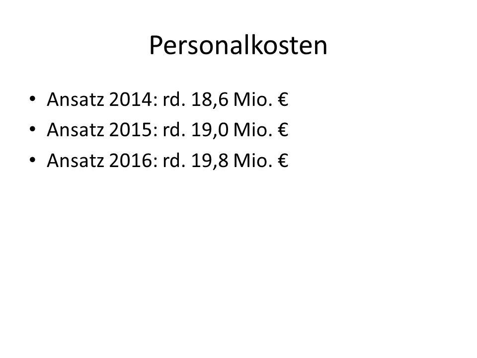 Personalkosten Ansatz 2014: rd. 18,6 Mio. €